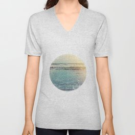 Geometric circle design with atmospheric ocean–Raumati beach–New Zealand 2015 Unisex V-Neck