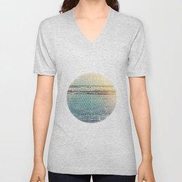 Geometric circle design with atmospheric ocean–Raumati beach–New Zealand 2015 Unisex V-Neck