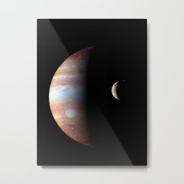 Jupiter and its Volcanic moon Io Deep Space Photograph Metal Print