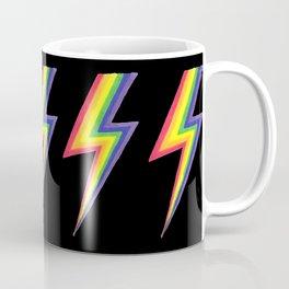 Rainbow Bolts on Black Coffee Mug