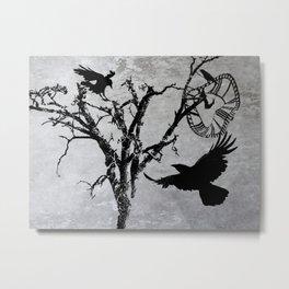 Clock Face Tree Crow Bird Steampunk Art Gothic Art A534 Metal Print