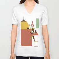 bar V-neck T-shirts featuring Mini Bar by Szoki