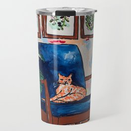 Ginger Cat on Blue Mid Century Chair Painting Travel Mug