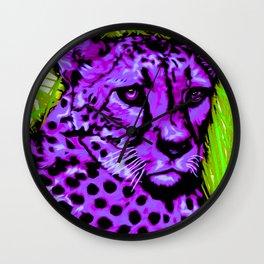 Black light purple Cheetah Wall Clock