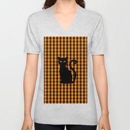 Black Halloween Cat on Orange Pumpkin Gingham Check Unisex V-Neck