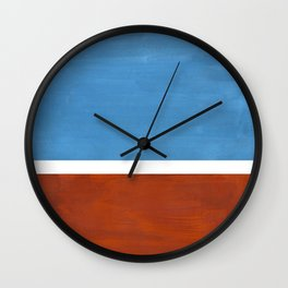 Antique Pastel Blue Brown Mid Century Modern Abstract Minimalist Rothko Color Field Squares Wall Clock