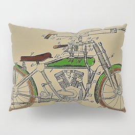 1914 WWI Perry Motorcycle Machine Gun Patent with pencil color Pillow Sham