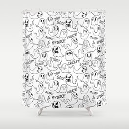 Ghosties in White Shower Curtain