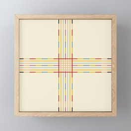 Fine Line Colorful Retro Cross Framed Mini Art Print