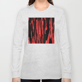 Unique Abstract Scarlet and Black Design Long Sleeve T-shirt