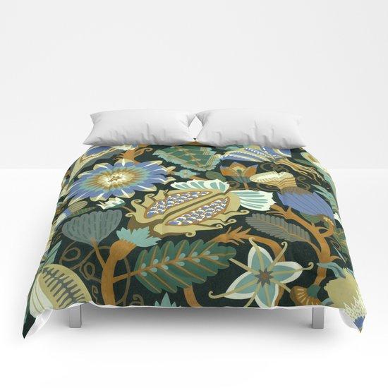 Flower Fantasy in blue Comforters