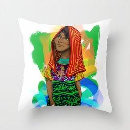 Ustup - kuna/guna girl Throw Pillow