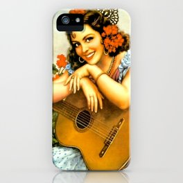 Mexican Calendar Girl with Guitar by Jesus Helguera iPhone Case