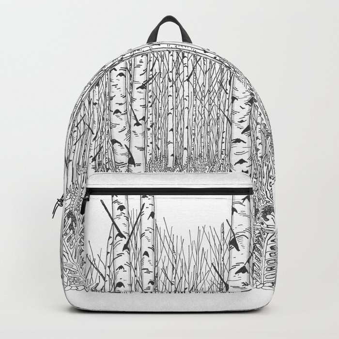 Birch Trees Black and White Illustration Backpack