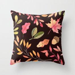 Pink orange yellow brown watercolor fall acorn leaves Throw Pillow