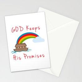 Cute Noahs Ark God Keeps His Promises Rainbow Stationery Cards