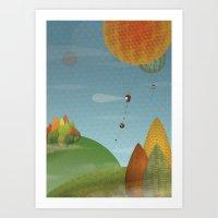 Balloons over the hills Art Print