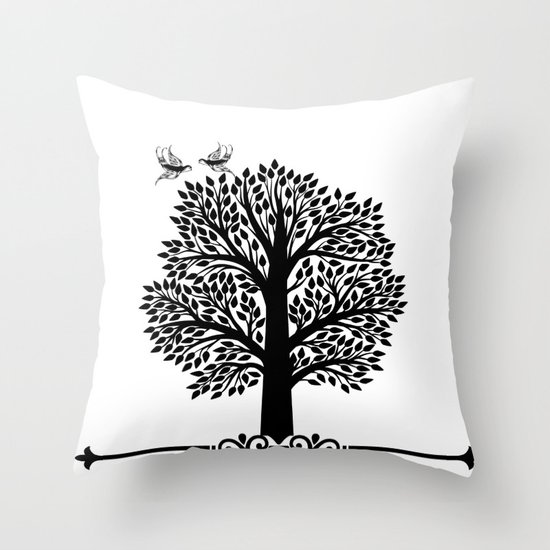 Black And White Tree Throw Pillow By Haroulita Society6