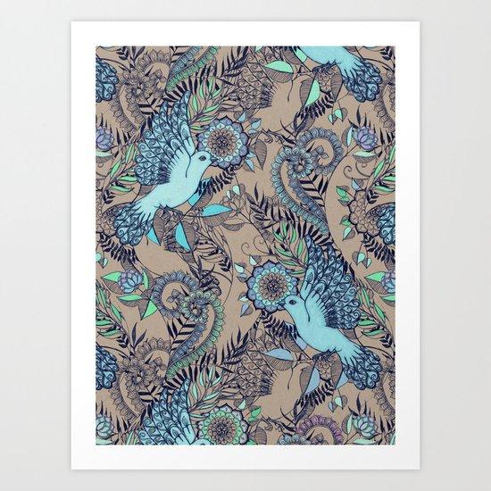 Flight of Fancy - aqua, mint, taupe Art Print