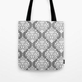 Grey Damask Tote Bag