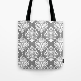 Grey Damask Tote Bag