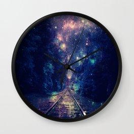 "Dream Train Tracks : ""Next Stop, Anywhere"" Wall Clock"