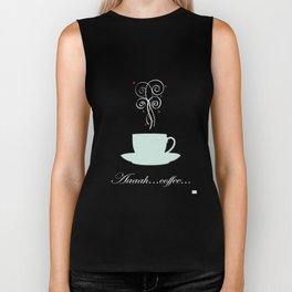 Aaah...coffee...  Retro / Vintage Coffee Print on Burnished Orange Background Biker Tank
