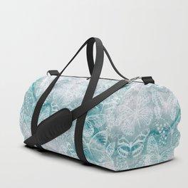 Sea green marble butterflies Duffle Bag