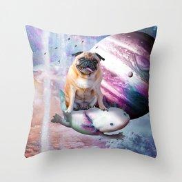 Space Pug Dog Riding Axolotl Throw Pillow