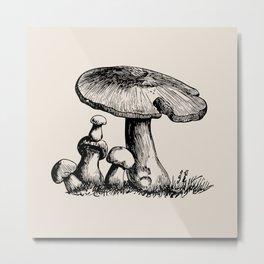 Botanical Line - Mushroom Metal Print