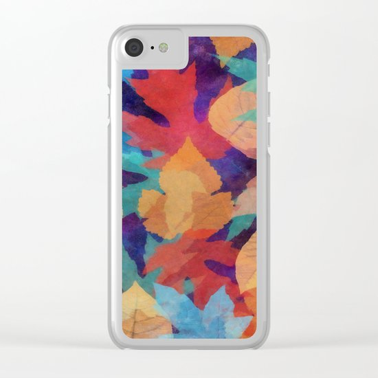 Colorful fallen leaves Clear iPhone Case