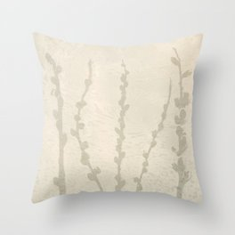Cream and Taupe Pussy Willow Graphic Light Neutral Throw Pillow