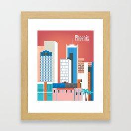 Phoenix, Arizona - Skyline Illustration by Loose Petals Framed Art Print
