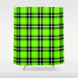 UFO GREEN Chartreuse (#7fff00) color themed SCOTTISH TARTAN Checkered Fabric Pattern texture Shower Curtain