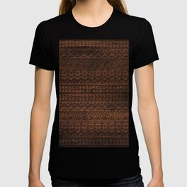 Aztec Tribal Andes Carved brown wood grain pattern T-shirt