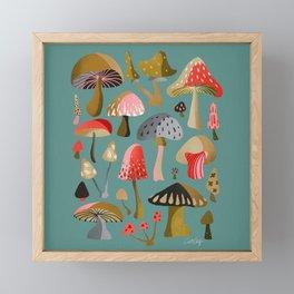 Mushroom Collection – Mint Framed Mini Art Print