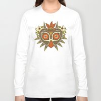 tiki Long Sleeve T-shirts featuring Tiki Majora by Paula García