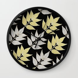 Silver & Gold Leaves On Black Wall Clock