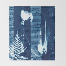 Fragments of the Past (34), art print, collage, blue print, cyanotype print, wall art, wall decor Throw Blanket