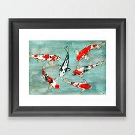 Le ballet des carpes koi Framed Art Print