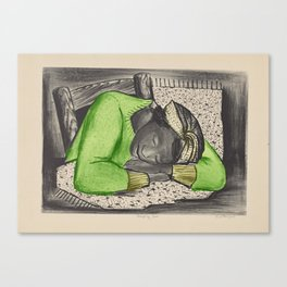 Vintage Folk Art - Sleeping Girl - Canvas Print