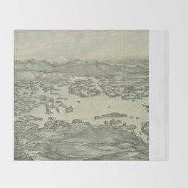 Vintage Pictorial Map of Lake Winnipesaukee (1903) Throw Blanket