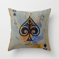 ace Throw Pillows featuring Ace by Michael Creese