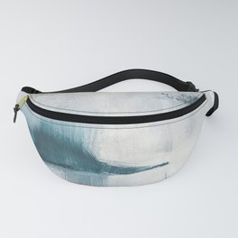 Dark Teal Gray Beige Abstract Painting Wall Art Fanny Pack