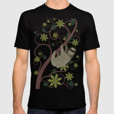 Sloth in a Tree Black Mens Fitted Tee MEDIUM
