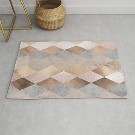 Copper and Blush Rose Gold Marble Argyle Rug