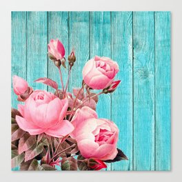 Pink Roses On Turquoise Blue Wood Canvas Print