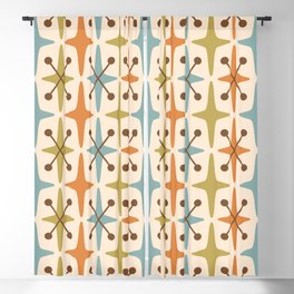 Mid Century Modern Abstract Star Pattern 441 Orange Brown Blue Olive Green Blackout Curtain