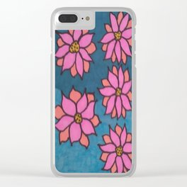 Pink and Blue Dahlia Print Clear iPhone Case