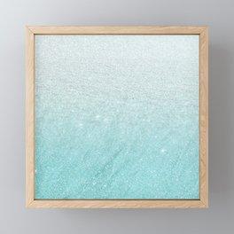 Modern chic teal pastel gradient faux glitter Framed Mini Art Print
